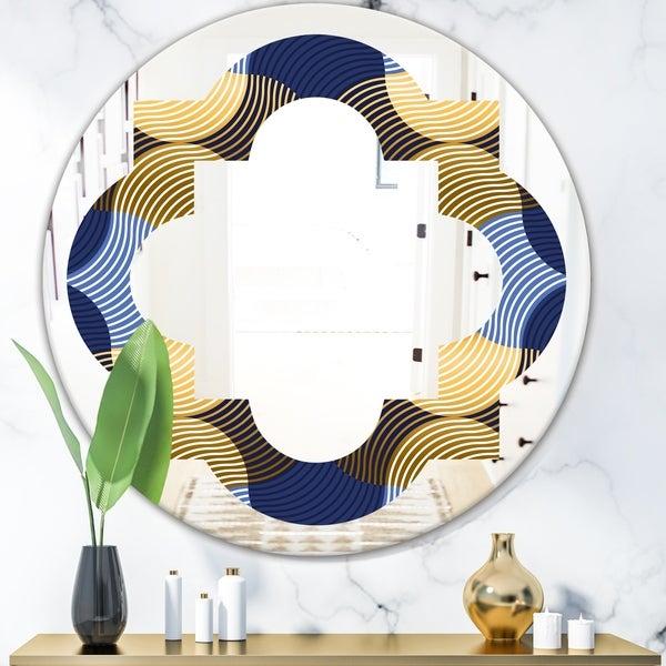 Designart 'Retro Luxury Waves In Gold and Blue II' Modern Round or Oval Wall Mirror - Quatrefoil