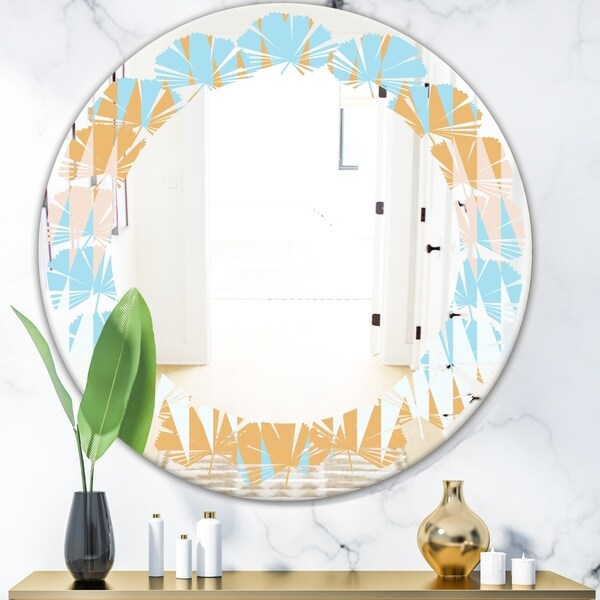 Designart 'Retro Abstract Design VI' Modern Round or Oval Wall Mirror - Leaves