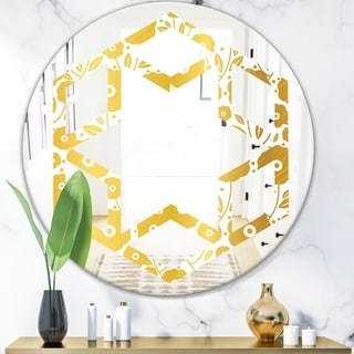 Designart 'Golden Floral I' Modern Round or Oval Wall Mirror - Hexagon Star