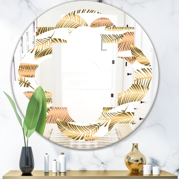 Designart 'Golden Tropical Pattern III' Modern Round or Oval Wall Mirror - Quatrefoil