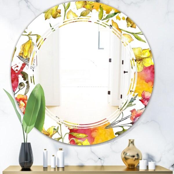 Designart 'Retro Handdrawn Poppies IV' Cottage Round or Oval Wall Mirror - Triple C