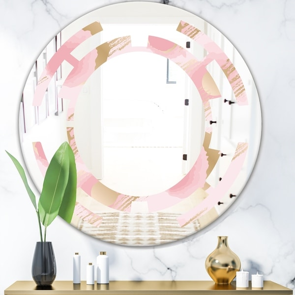 Designart 'Abstract Flower Design IX' Cottage Round or Oval Wall Mirror - Space