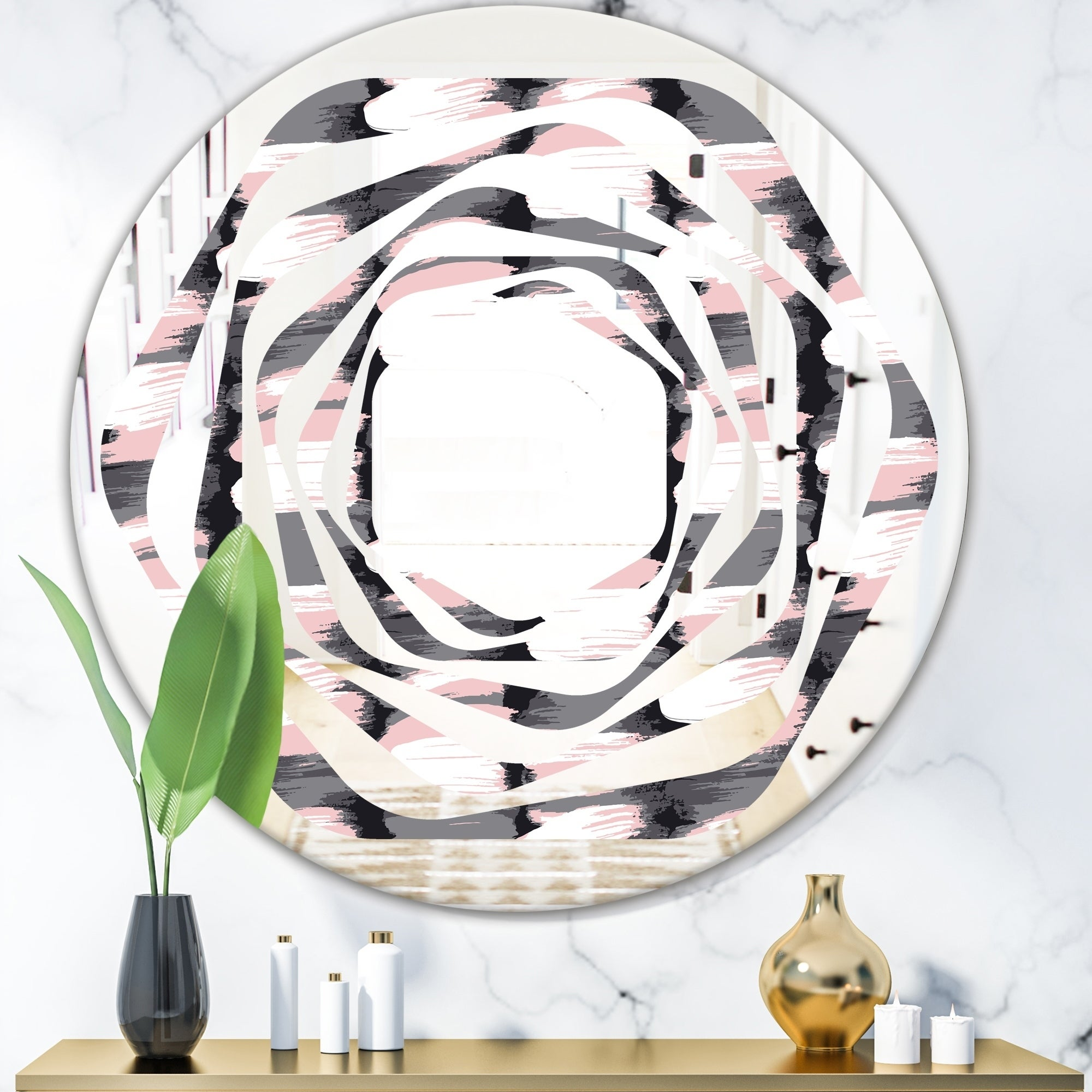 Designart Paint Brush Strokes Pattern Modern Round Or Oval Wall Mirror Whirl On Sale Overstock 29907858