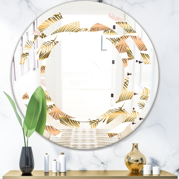 Designart 'Golden Tropical Pattern III' Modern Round or Oval Wall Mirror - Space