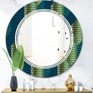 Designart 'Retro Hexagon Pattern V' Modern Round or Oval Wall Mirror - Triple C