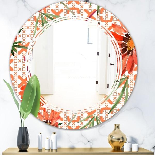 Designart 'Floral Botanical Retro I' Modern Round or Oval Wall Mirror - Triple C
