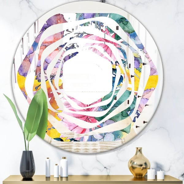 Designart 'Retro Floral Botanical V' Cottage Round or Oval Wall Mirror - Whirl - Multi