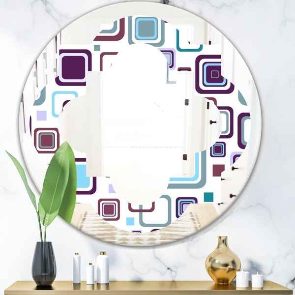 Designart 'Retro Square Design I' Modern Round or Oval Wall Mirror - Quatrefoil
