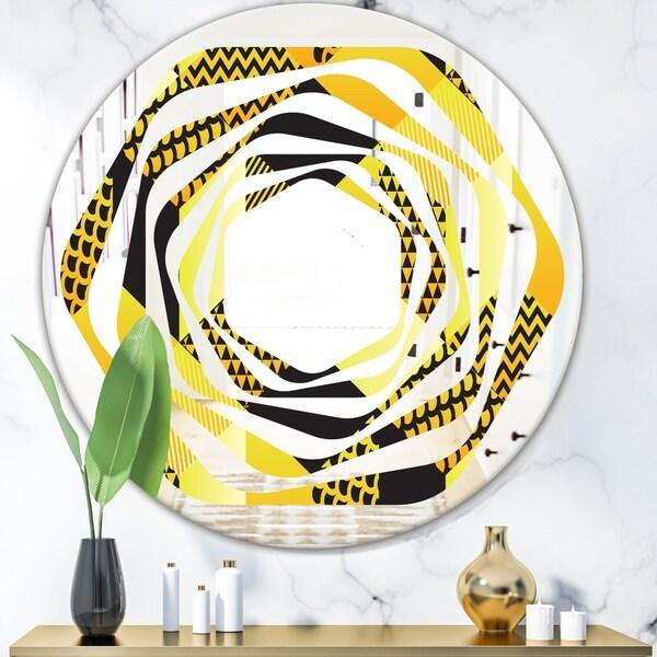 Designart 'Retro Hexagon Pattern II' Modern Round or Oval Wall Mirror - Whirl