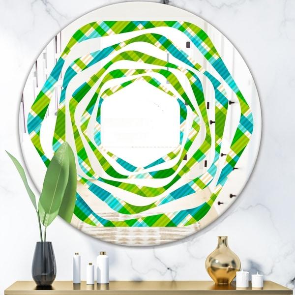Designart 'Tartan Geometrical Texture II' Modern Round or Oval Wall Mirror - Whirl