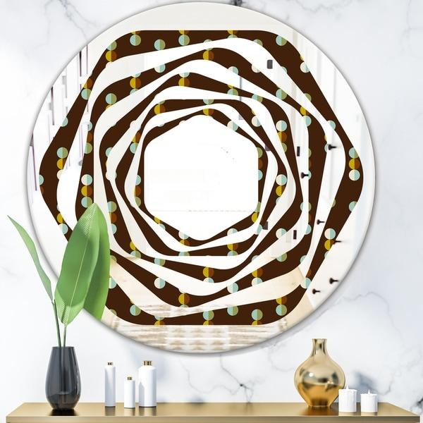 Designart 'Geometric Mod Dots' Modern Round or Oval Wall Mirror - Whirl