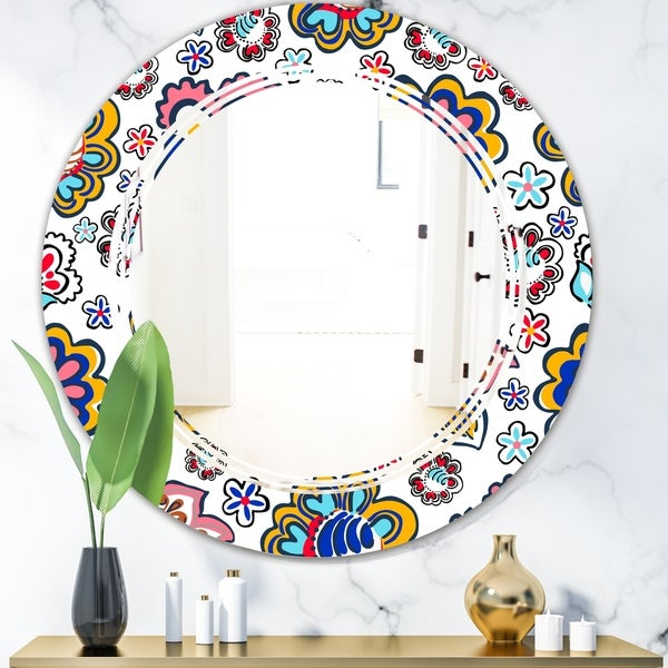 Designart 'Retro handdrawn flowers II' Modern Round or Oval Wall Mirror - Triple C - Multi