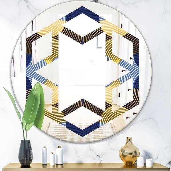 Designart 'Retro Luxury Waves In Gold and Blue II' Modern Round or Oval Wall Mirror - Hexagon Star