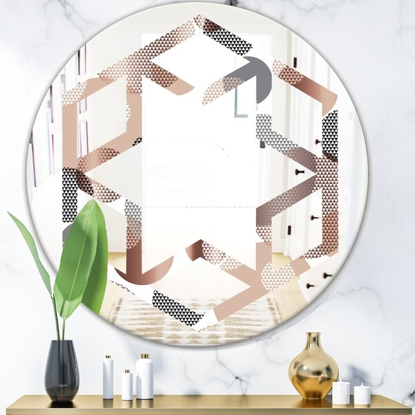 Designart 'Circular Abstract Retro Geometric XIII' Modern Round or Oval Wall Mirror - Hexagon Star