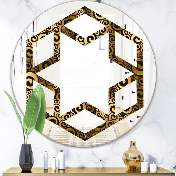Designart 'Gold and Black Swirl I' Modern Round or Oval Wall Mirror - Hexagon Star