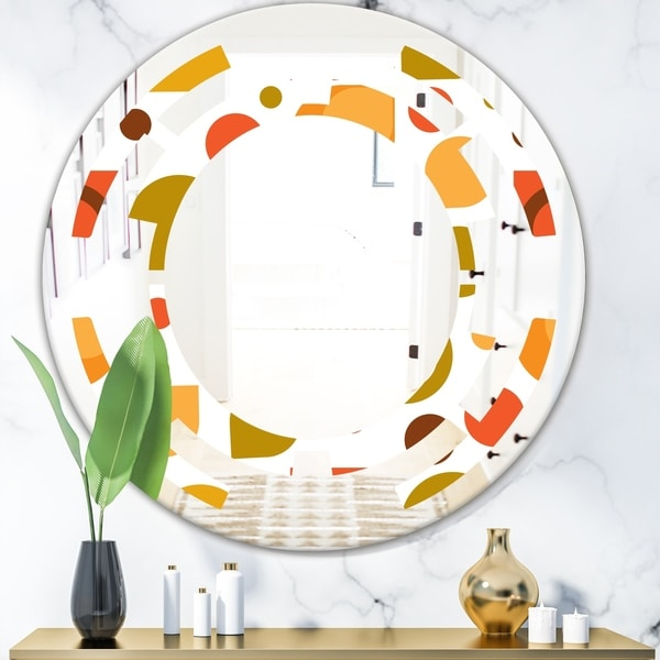 Designart 'Abstract Retro Geometric I' Modern Round or Oval Wall Mirror - Space