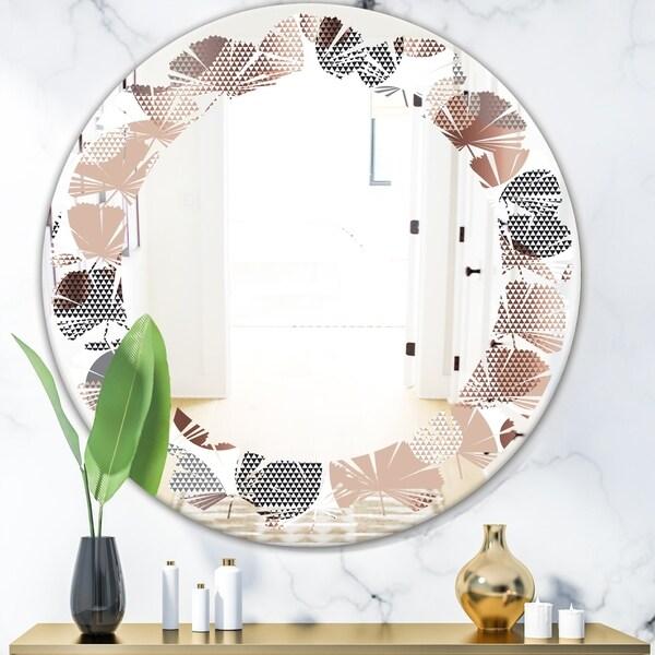 Designart 'Circular Abstract Retro Geometric XIII' Modern Round or Oval Wall Mirror - Leaves