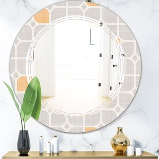 Designart 'Retro Geometrical Pattern II' Modern Round or Oval Wall Mirror - Triple C