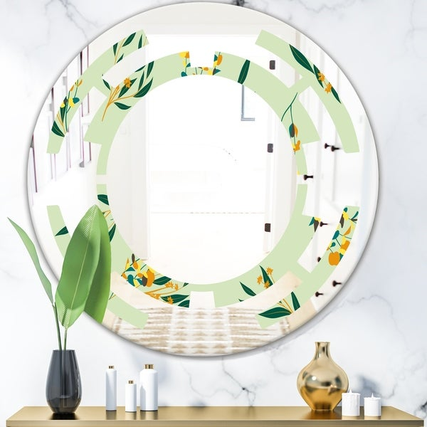 Designart 'Bright Eucalyptus Floral Pattern III' Cottage Round or Oval Wall Mirror - Space