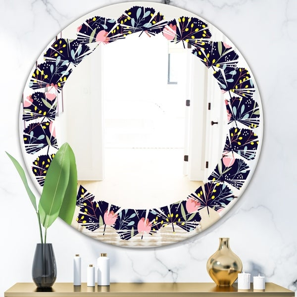 Designart 'Handdrawn Pink Flowers' Modern Round or Oval Wall Mirror - Leaves