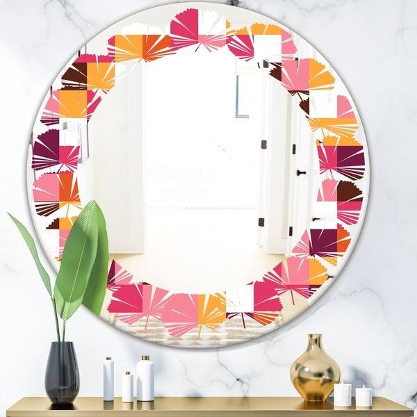 Designart 'Retro Geometric Design VII' Modern Round or Oval Wall Mirror - Leaves