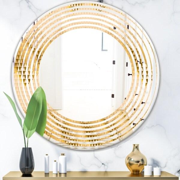 Designart 'Golden Triangular Wavess I' Modern Round or Oval Wall Mirror - Wave