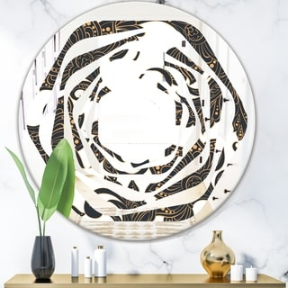 Designart 'Retro Indian Floral Batik I' Modern Round or Oval Wall Mirror - Whirl