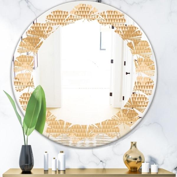 Designart 'Beige Retro Triangular Wave' Modern Round or Oval Wall Mirror - Leaves