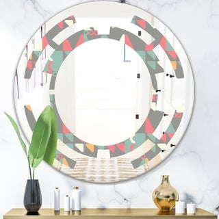 Designart 'Retro Abstract Design V' Modern Round or Oval Wall Mirror - Space