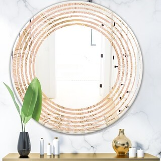 Designart 'Rose Gold Abstract Geometry Luxury' Modern Round or Oval Wall Mirror - Wave