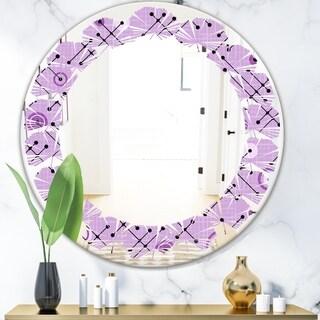 Designart '1950 Retro Pattern III' Modern Round or Oval Wall Mirror - Leaves