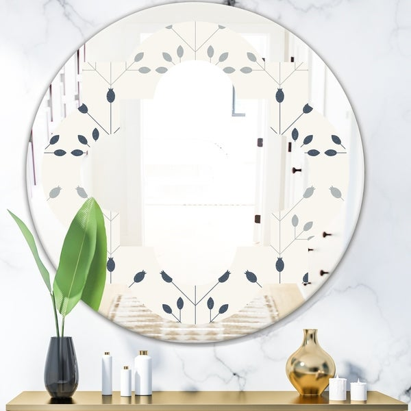 Designart 'Floral Retro Botanical Pattern I' Cottage Round or Oval Wall Mirror - Quatrefoil