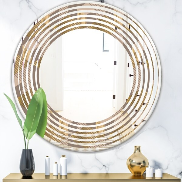 Designart 'Retro Square Design V' Modern Round or Oval Wall Mirror - Wave