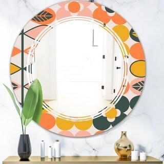 Designart 'Botanical Retro Design II' Modern Round or Oval Wall Mirror - Triple C - Multi