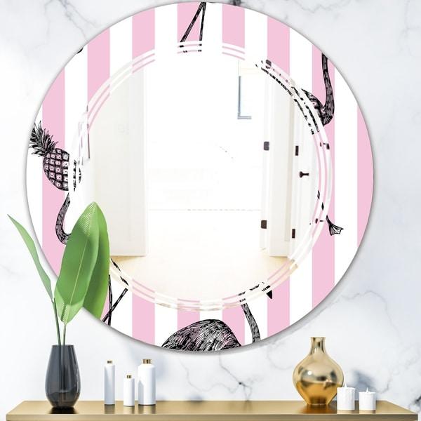 Designart 'Flamingo on Pink' Modern Round or Oval Wall Mirror - Triple C