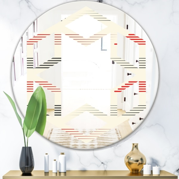 Designart 'Horizontal Retro Geometrical Pattern I' Modern Round or Oval Wall Mirror - Hexagon Star