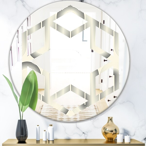 Designart 'Retro Curved Minimal Geometric Ornament I' Modern Round or Oval Wall Mirror - Hexagon Star