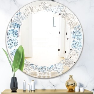 Designart 'Abstract Retro Design I' Modern Round or Oval Wall Mirror - Leaves