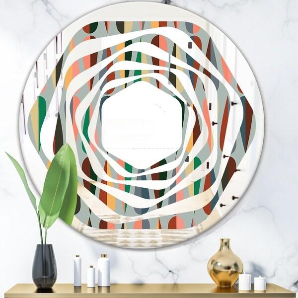 Designart 'Retro Abstract Drops IX' Modern Round or Oval Wall Mirror - Whirl - Multi