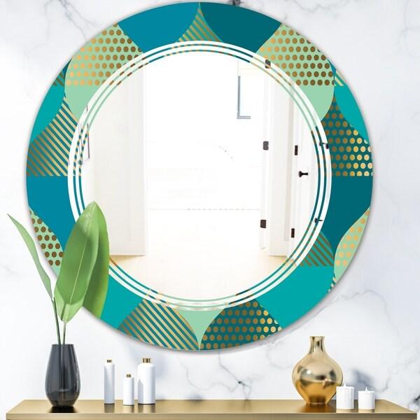 Designart 'Luxury Retro Drops I' Modern Round or Oval Wall Mirror - Triple C