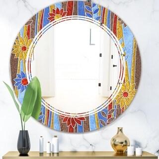 Designart 'Floral Retro Pattern III' Modern Round or Oval Wall Mirror - Triple C - Multi
