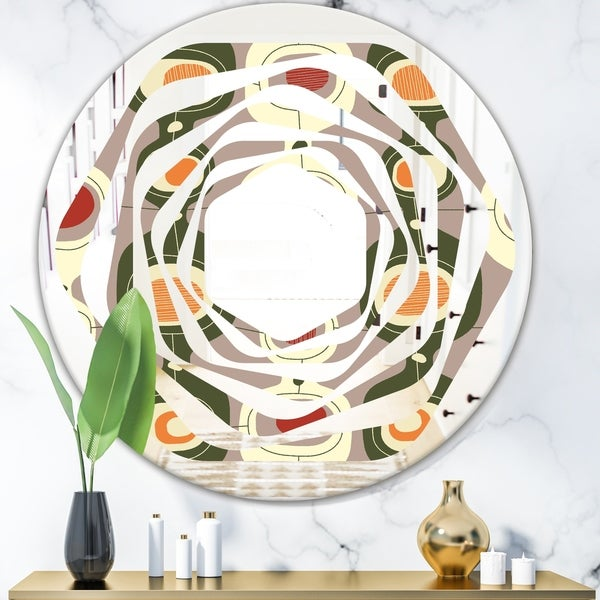 Designart 'Retro Abstract Design X' Modern Round or Oval Wall Mirror - Whirl