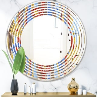 Designart 'Floral Retro Pattern III' Modern Round or Oval Wall Mirror - Wave - Multi