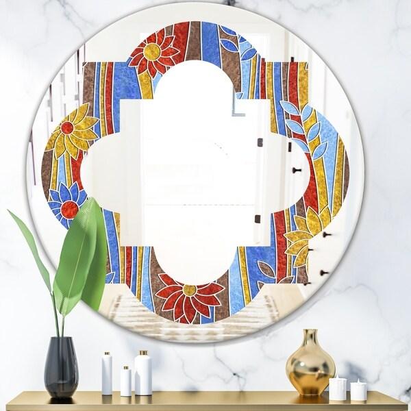 Designart 'Floral Retro Pattern III' Modern Round or Oval Wall Mirror - Quatrefoil - Multi