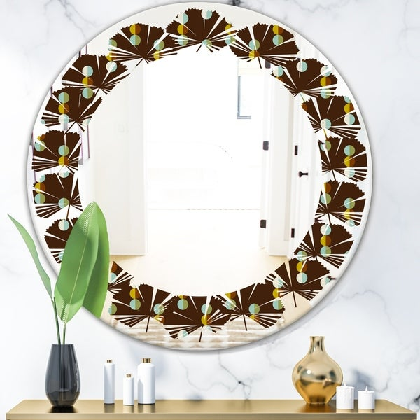 Designart 'Geometric Mod Dots' Modern Round or Oval Wall Mirror - Leaves