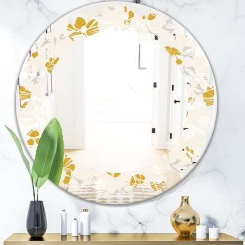 Designart 'Retro Handdrawn Poppies III' Cottage Round or Oval Wall Mirror - Leaves