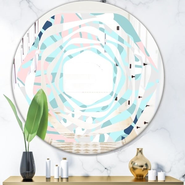 Designart 'Retro Floral Pattern II' Modern Round or Oval Wall Mirror - Whirl