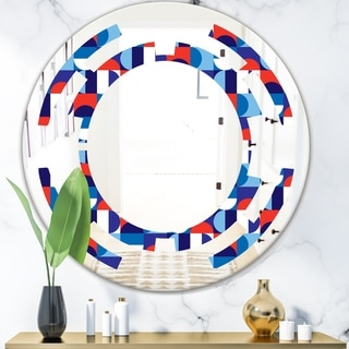 Designart 'Blue, Red & White Polka Dots' Modern Round or Oval Wall Mirror - Space