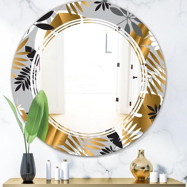 Designart 'Geometric luxury jungle foliage pattern' Modern Round or Oval Wall Mirror - Triple C