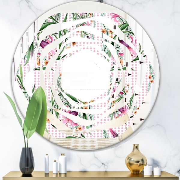 Designart 'Floral Botanical Retro X' Modern Round or Oval Wall Mirror - Whirl